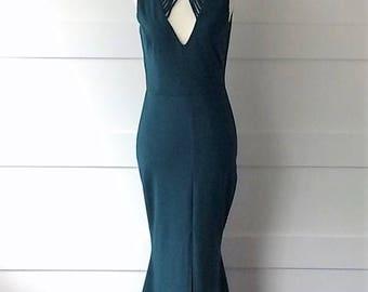 Prom dress or Wedding guest-Hunter Green High Neck Maxi Dress- Spring/Summer