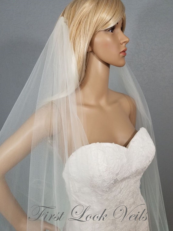 Wedding Veil, Bridal Veil, Draped Chapel Veil, Ivory, Drop Veil, Handmade, Bride, Accessory, Gift
