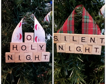 O Holy Night/Silent Night Christmas Ornament - Scrabble - Holiday Ornament - Holiday Gift