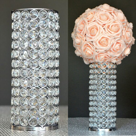 Rhinestone candle holder vase silver bling
