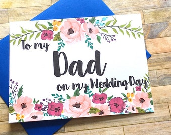 To My Dad On My Wedding Day - Wedding Card for Dad - Daddy's Little Girl - For My Dad - Dad Wedding Day Card Father of the Bride - MULBERRY