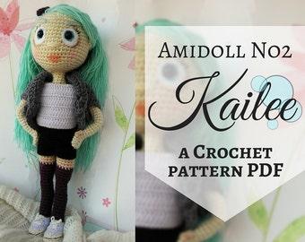 Amidoll No2 - Kailee, PDF Crochet Pattern in English, Amigurumi girl doll, Stuffed toy