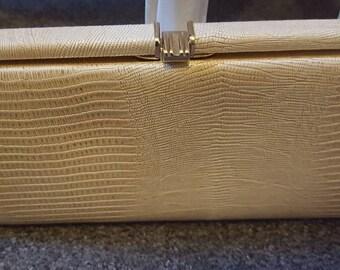 Vintage 80s Cream Faux Snake Clutch Bag