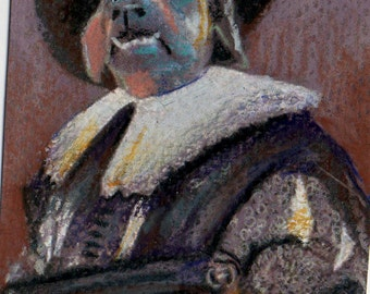 original art aceo card drawing  hound dog Laughing Cavalier Frans Hals