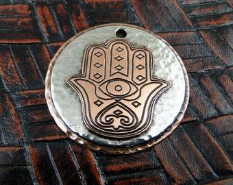 Custom Pet Hamsa Hand ID Tag-Handmade Hamsa Hand ID Tag-Pendant, Keychain Fob or Luggage ID Tag