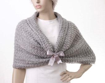 Bridal crochet stole  bridesmaid shawl crochet capelet shawl scarf crocheted shrug capelet wrap,silver grey