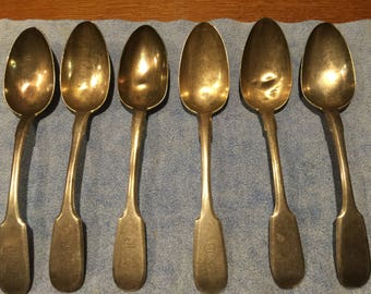 Vintage Serving Spoons, Engraved, Monogrammed,