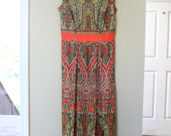vintage bohemian maxi length orange dress *