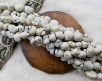 White Dyed Turquoise Magnesite Nuggets 10-20mm, 14 Inch Strand