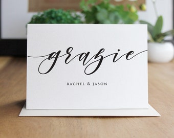 Personalized Grazie Thank You Cards / Set of 10 Folded Shimmer Note Cards - T3481