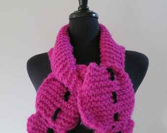 Magenta Dark Pink Color Knitted Scarf Ruffled Collar Necklet Scarflette with Black Cord