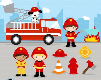 FIREFIGHTER Digital Clipart, Fireman boys Clip art, Fire truck Clipart for Personal and Commercial Use / INSTANT DOWNLOAD