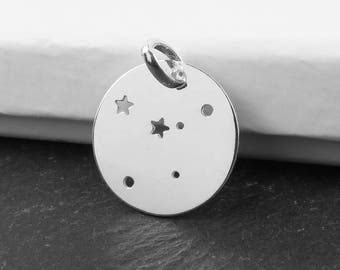 Sterling Silver Cancer Constellation Pendant 18mm