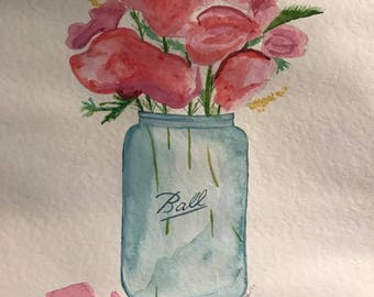 Blue Mason Jar filled with flowers original watercolor