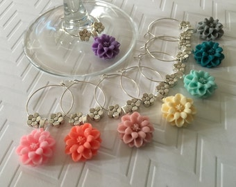 Flower Wine Charms - set of 8 - girls night out, party favors, hostess gift, baby shower, bridal shower, wedding, cute wine charms