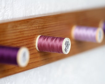 Handmade Wooden Coat Rack Unique Solid Wood Purple Thread-Peg Wall Mounted Coat Rack 5 Hooks