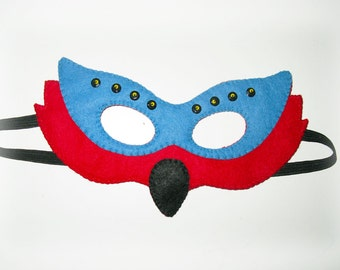 Parrot Felt Mask for kids adults - red blue - handmade carnival bird costume - for boys girls - Dress up play accessory - Theatre roleplay