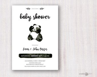 Panda Baby invite. Black White Baby shower. Modern watercolour invite. gender Neutral Shower First Birthday invitation Panda party CRFBS04
