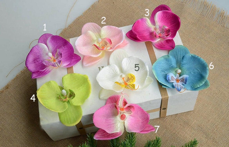 12 Phalaenopsis Heads 7cm Artificial Flowersilk Orchid Hair Flowers