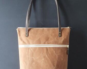Waxed canvas double zipper shoulder bag