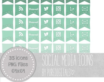 Mint Social Media Icons, Blog Buttons, Social Media Buttons, Cute Social Media Buttons, Mint Blog Buttons, Website Icons