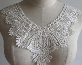CD10 / White Pearl * 33 x 30 cm * collar bib Guipure lace - Applique sewing