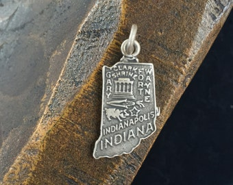 Indiana State - 925 Silver Vintage Charm - Free Shipping within USA