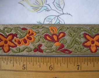 """Embroidered Thick Jacquard Ribbon Trim Green Cranbery Orange Floral 1 1/8"""" wide (28MM) 2 yard lots sewing crafts costume flowers"""