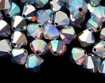 12pc - 6mm Swarovski Crystal AB CAL 2X BiCone Spacer Beads Style 5301 aka 5328