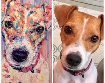 Pet Portrait Canvas Oil Custom Portrait From Photo Dog Portrait Oil Painting Original Animal Portrait Dog Lover Gift Palette Knife Painting