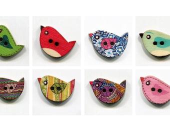 set buttons birds * 2.3 cm * pattern * wood
