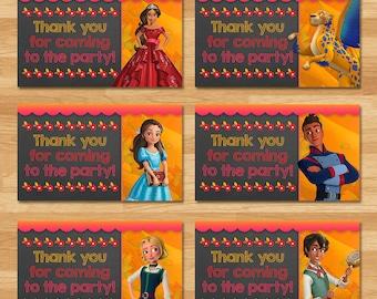 Elena of Avalor Party Tags - Chalkboard - Elena Thank You Tags - Disney Princess Favors - Princess Elena Printables - Elena of Avalor Party