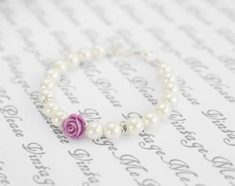 Flower Girl Bracelet, Personalized Childrens Jewelry, Ivory Pearl Bracelet, Flower Girl Gift, Infant Jewelry,Toddler Bracelet, Baptism Gifts