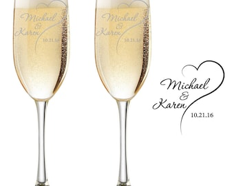 Personalized champagne flutes, champagne glasses, Toasting glasses, wedding toasting glasses, Mr and Mrs, wedding, By To VitalBridalKeepsake