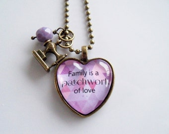 Family Is A Patchwork Of Love Necklace -  Quilter Jewelry - Sewing Pendant - Family Necklace - Text Jewelry -  You Choose Bead and Charm