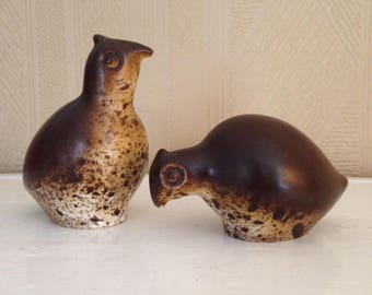 Howard Pierce Quail Ceramic Pair of Figurines Mid Century Modern