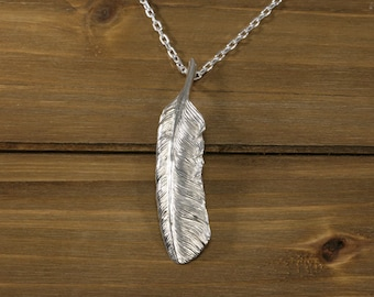 Feather Pendant / feather necklace / feather charm / silver feather