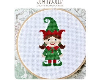 Cute Girl Elf Cross Stitch Pattern Instant Download