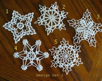 Crocheted Christmas Snowflake - Small Doily - Design Set 2 - Mix and Match Snowflakes