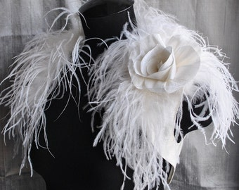 Wedding Bolero Bridal Shrug Handmade Dupioni Raw Silk Ivory Ostrich Silk Rose Brooch Satin Lined Free Shipping BIRD OF PARADISE