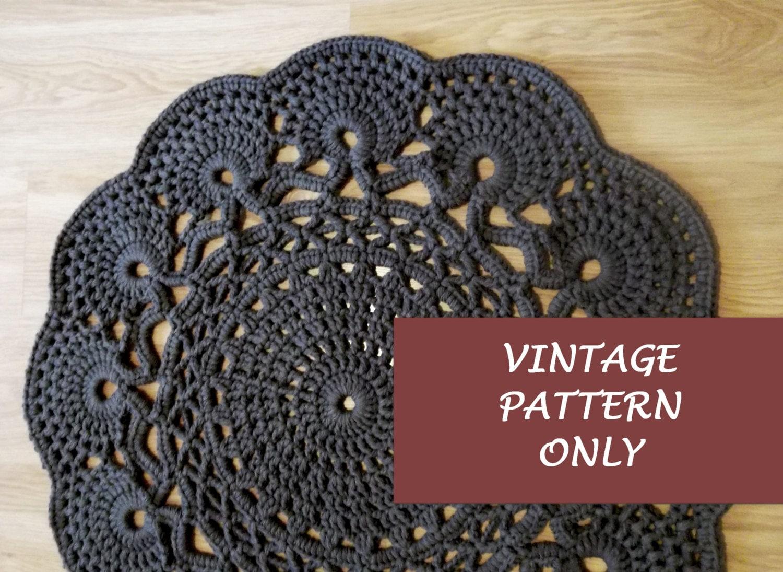 Vintage Pattern Only, Crochet Rug Chart, Crochet Rug, Rug Round ...