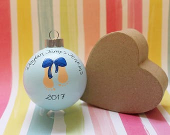 New Baby Gift MADE TO ORDER Baby Boy Gift New Baby Boy Christmas Ornament Babys First Christmas Baby Stats Baby Feet Bow Personalized Blue