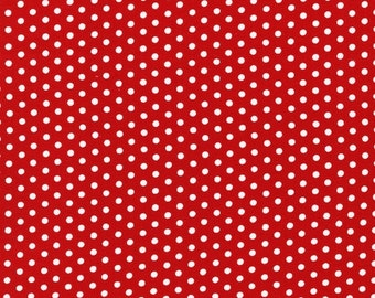 Red and White Tiny Dot Fabric - Spot On collection from Robert Kaufman. Christmas or Holiday. 100% cotton. EZC-12873-3 RED