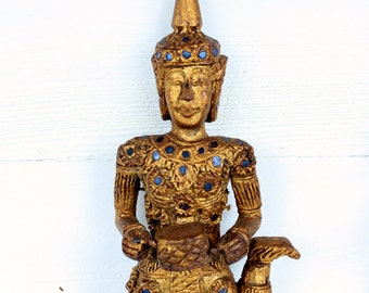 Vintage Hand Carved Wooden Asian Drummer Wall Decor