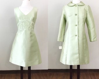 Vintage 1960s Dress / Matching jacket / New Old Stock / Mint green / Lace / Rhinestone buttons