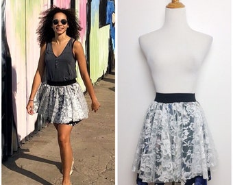 Vintage Re-purposed Floral Lace Mini Skirt/ XS Small