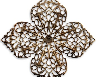 2 pieces of  59mm Clover Petal Filigree - Vintaj Item F410