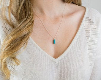 Sterling silver turquoise drop necklace | Minimalist gemstone jewelry