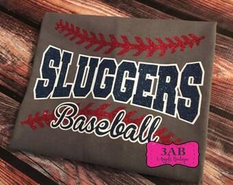 Wichita Sluggers Glitter Vinyl Baseball or Softball unisex tee