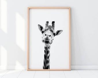 giraffe, giraffe print, giraffe print art, black and white, nursery decor, woodland nursery, woodland animals, woodland, wall decor, nursery